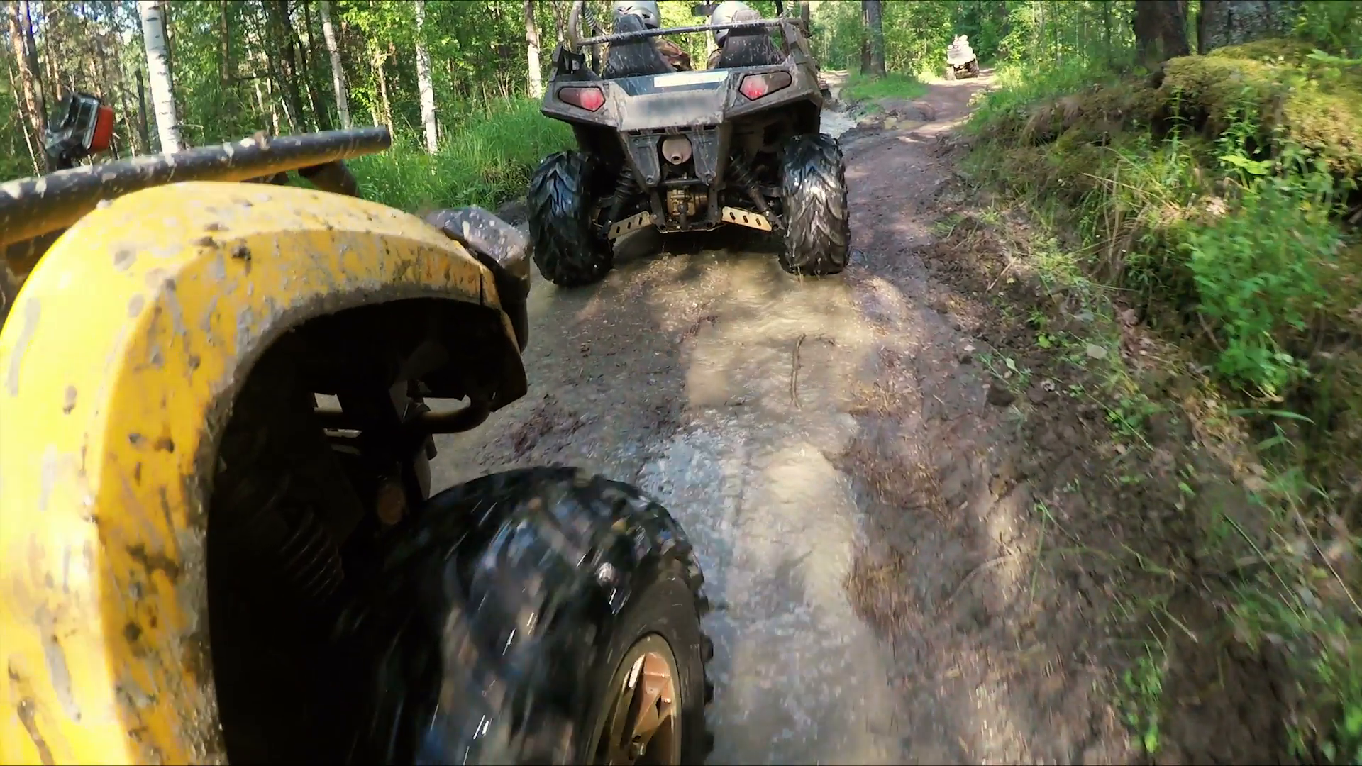 Wheel ATV drives into a deep mud puddle Stock Video Footage - VideoBlocks - Atv Mud PNG