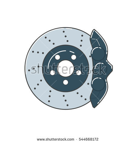 Brake disc with caliper - Auto Brake Service Vector PNG