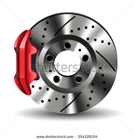 Brake disc with caliper isolated on white. Vector illustration - Auto Brake Service Vector PNG