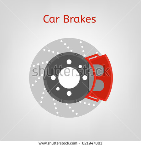 Car brake discs system spare part in a flat style. Auto repair sign.  Automobile - Auto Brake Service Vector PNG