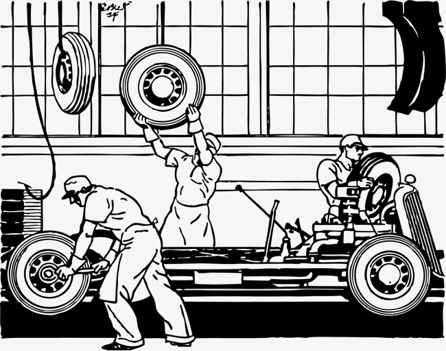 Vector repairman, Repairman, AUTO MECHANIC, Hand Painted Free PNG and Vector - Auto Mechanic PNG Black And White