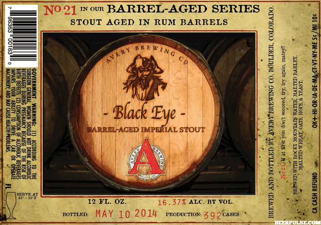 Avery Black Eye Rum Barrel Aged Imperial Stout - Avery Black PNG