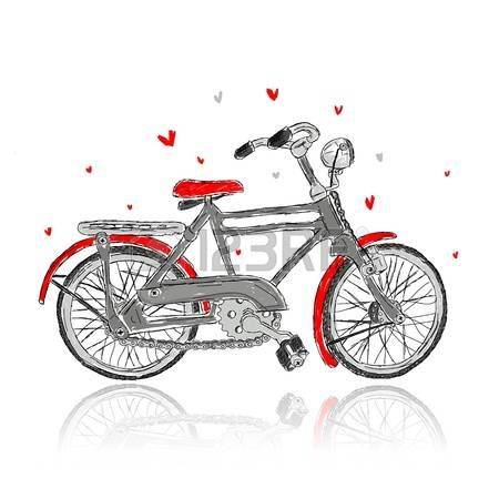 Illustration of Sketch of old bicycle for your design vector art, clipart  and stock vectors. - Avid Bicycles Vector PNG