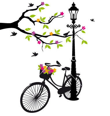 Old bicycle with flowers vector art - Download vectors - 1079886 - Avid Bicycles Vector PNG