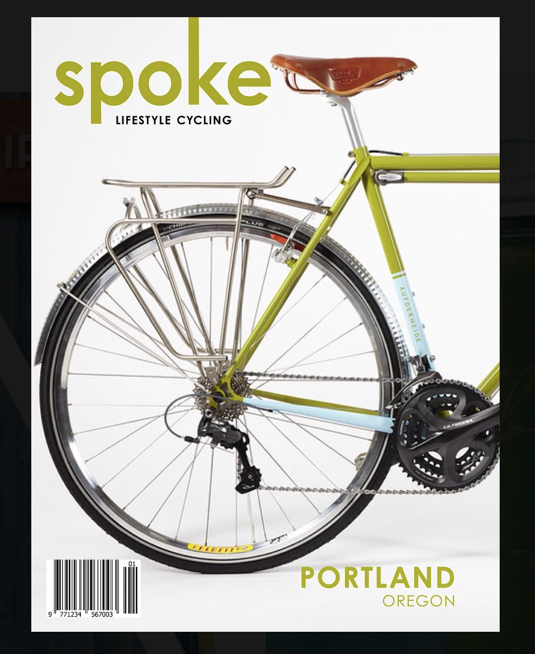 Spoke Magazine Cover Colour of bicycle frame used as primary colour of text - Avid Bicycles Vector PNG