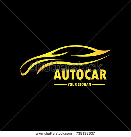 Gold Car Logo Template with Black Backround. Abstract Car silhouette for  Automotive Company logo. - Avtocompany PNG