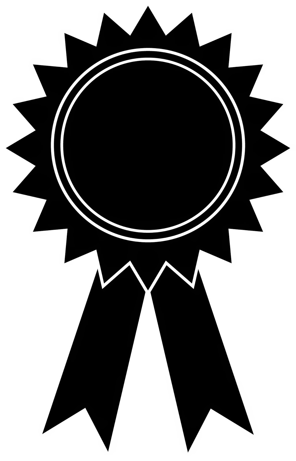 Award Ribbon Clipart Black And White · Award Outline Cliparts - Award Ribbon PNG Black And White