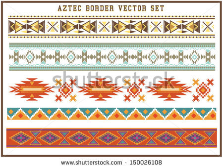Aztec borders vector set - Aztec PNG Borders