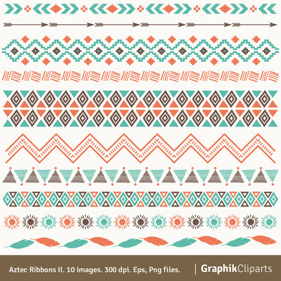 Aztec Ribbons II Clipart. Ribbons Clipart, Tribal Clipart, Aztec, Ethnic  Borders. 10 images, 300 dpi. Eps, Png files. Instant Download. - Aztec PNG Borders