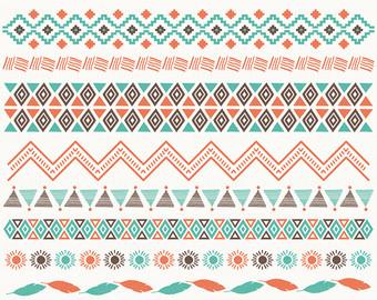 Aztec Ribbons II Clipart. Ribbons Clipart, Tribal Clipart, Aztec, Ethnic  Borders. - Aztec PNG Borders