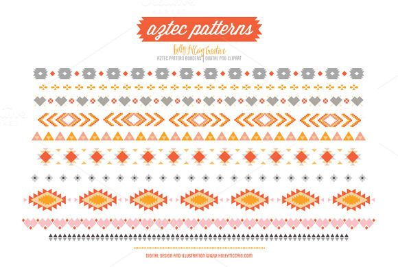 Check out Aztec Tribal Borders PNG Clipart by Holly McCaig Creative on  Creative Market - Aztec PNG Borders