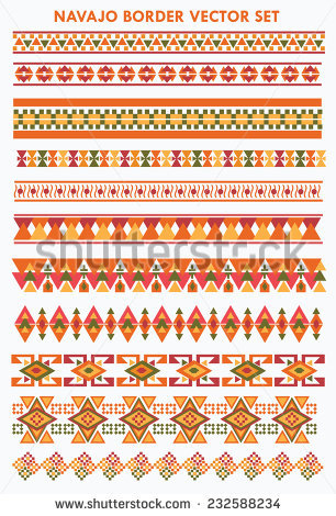 Colorful Navajo-Aztec border vector set - Aztec PNG Borders