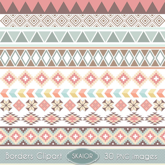 Tribal Borders Clipart Digital Borders Clip Art Native American Borders  Ethnic Digital Scrapbooking Aztec Wedding Invitations Text Dividers from  skaior on PlusPng.com  - Aztec PNG Borders