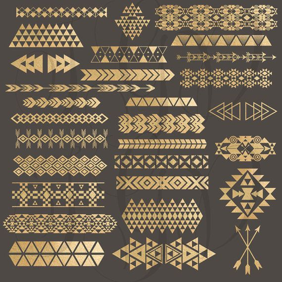 Tribal Borders Digital Clip Art - gold foil tribal aztec borders u0026 elements  png files for - Aztec PNG Borders