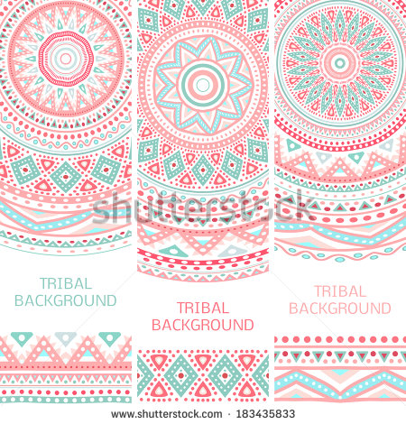 Tribal ethnic vintage banners. Vector illustration for your cute feminine  romantic design. Aztec sign - Aztec PNG Borders