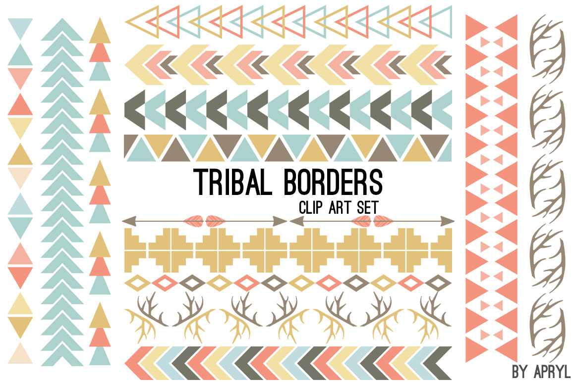 Tribal Pattern Borders Aztec in Pastel Aztec Clipart Commercial Use  Graphics Digital Clip Art Digital Images Royalty Free PNG from  GraphicsByApryl on Etsy PlusPng.com  - Aztec PNG Borders
