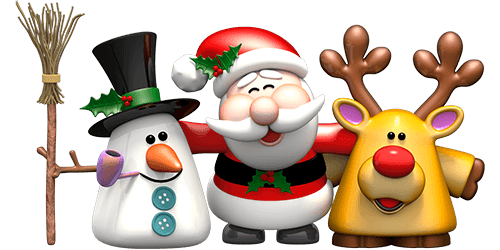 Adesivi Murali: Pupazzo di neve, Babbo Natale e renna Rudolph - Babbo Natale PNG