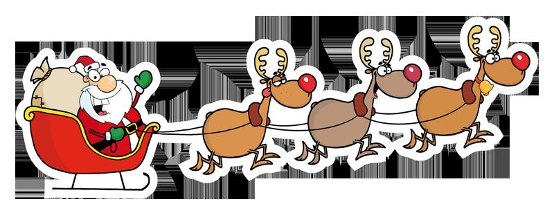 Babbo natale renne e slitta - Babbo Natale PNG