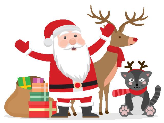 Elio è un gatto ma sogna da sempre di fare la renna di Babbo Natale. Tutto  grigio, vive a Firenze e i suoi amici lo prendono in giro. - Babbo Natale PNG