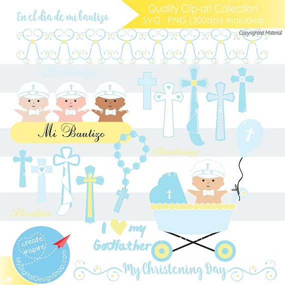 70% SALE My Christening Day Baby Boy Clipart, Cutting SVG, PNG Image,Kids  Baptism Digital, Baby Religious Scrapbook,Blue Easter Cross Rosary - Baby Baptism PNG HD