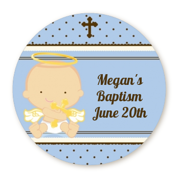 Angel Baby Boy Caucasian - Round Personalized Baptism / Christening Sticker  Labels - Baby Baptism PNG HD