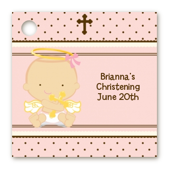 Angel Baby Girl Caucasian - Personalized Baptism / Christening Card Stock  Favor Tags - Baby Baptism PNG HD