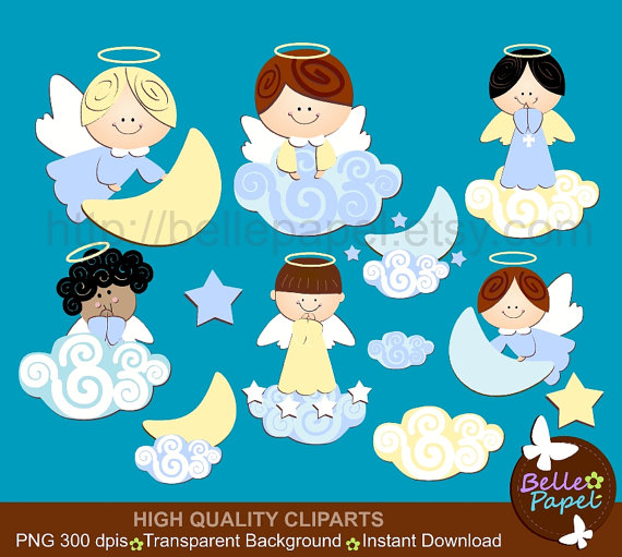 Baby Angel Boys and Clouds. Blue and Yellow. Baptism. Christening. PNG  Digital Clipart Set. Personal and Commercial Use* INSTANT DOWNLOAD from  BellePapel on PlusPng.com  - Baby Baptism PNG HD