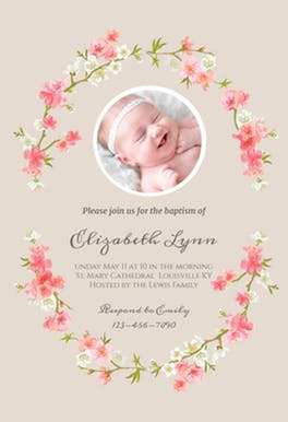 Floral Baby - Baptism u0026 Christening Invitation Template - Baby Baptism PNG HD