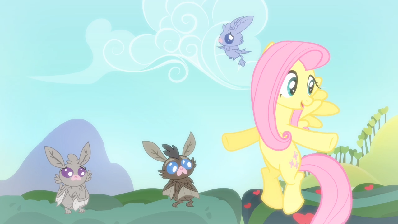 Baby bat flying around Fluttershy S4E07.png - Baby Bat PNG