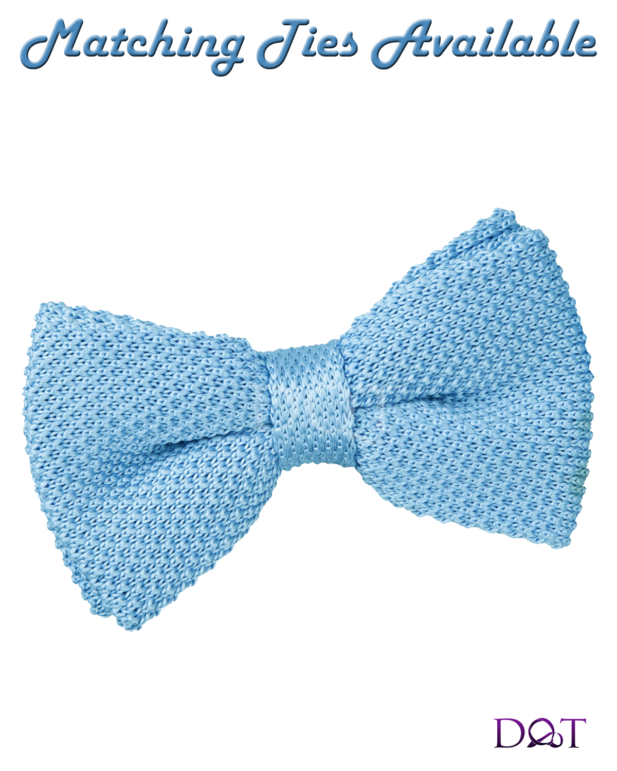 Baby Blue Knitted Bow Tie in Polyester from DQT - Baby Blue Bow Tie PNG