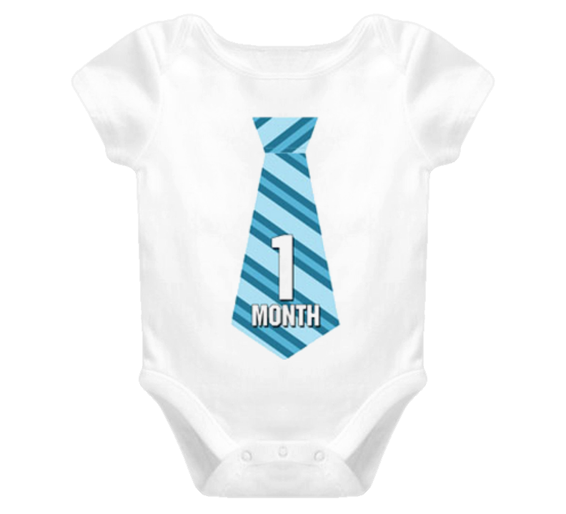 Baby Boy 1 Month Old Tie Dress Up Child Onesie T Shirt - Baby Boy Tie PNG