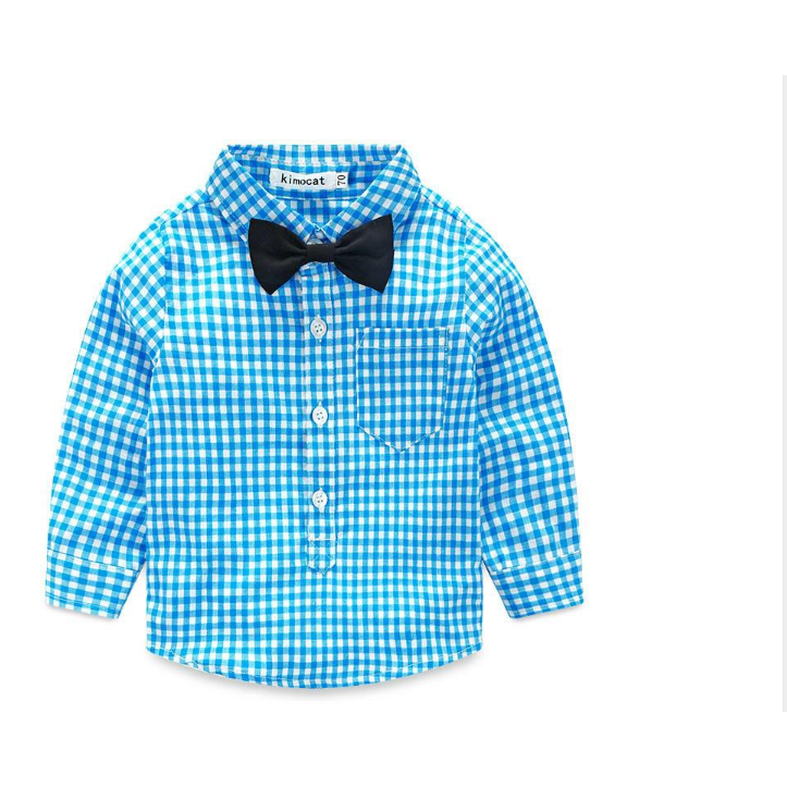 . PlusPng.com Baby Boy Spring u0026 Autumn Clothes Plaid Suit| Newborn Baby Bow Tie Shirt    Suspender PlusPng.com  - Baby Boy Tie PNG