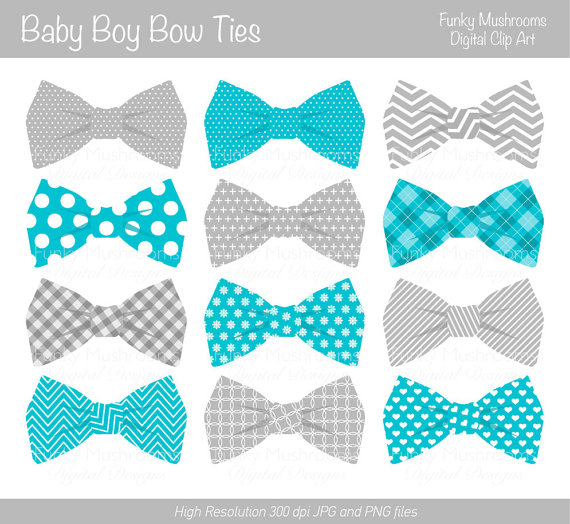 Digital clipart Bow Ties baby boy grey blue by funkymushrooms, u20ac2.60 - Baby Boy Tie PNG