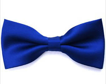 Royal blue satin bow tie with clip-on as attachment for kids boy toddler or - Baby Boy Tie PNG