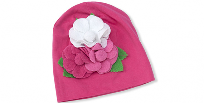 Baby Girl Knit Cap Hat With Felt Flowers | HeyDuckee - Baby Cap PNG