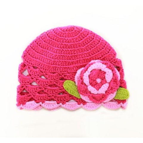 . PlusPng.com Raspberry Rose Scalloped Edge Crochet Baby Hat - Baby Cap PNG