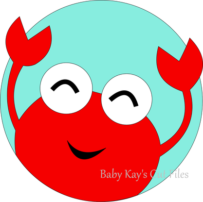 Silhouette Cameo Cut File Design Crab in Circle Frame - Baby Crab PNG