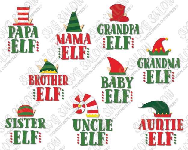 Cute Elf Hat Family Shirt Decal Cut File Set in SVG, EPS, DXF, JPEG, and PNG - Baby Elf PNG