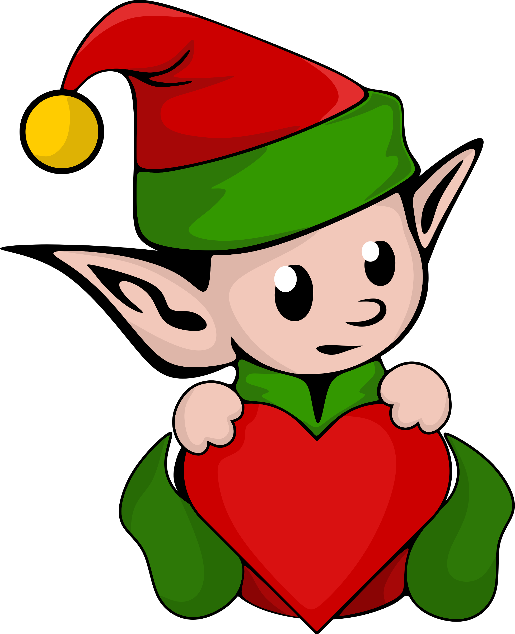 Elf with Heart PNG 171x210 - Elf PNG Transparent Free Images - Baby Elf PNG