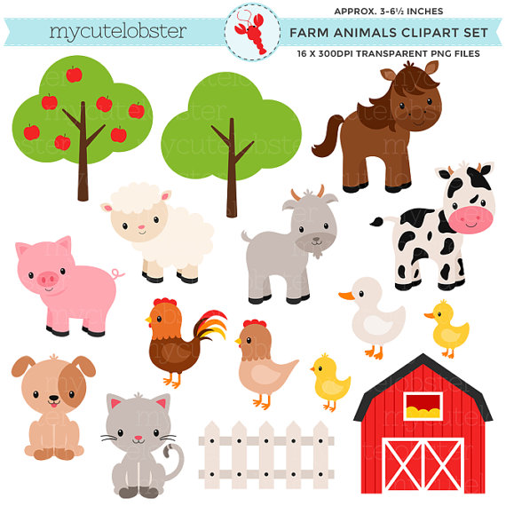 . PlusPng.com Adorable Baby Farm Animals Clip Art and Clip Art Barnyard Clipart  Barnyard Animals Clip Art Commercial PlusPng.com  - Baby Farm Animals PNG HD