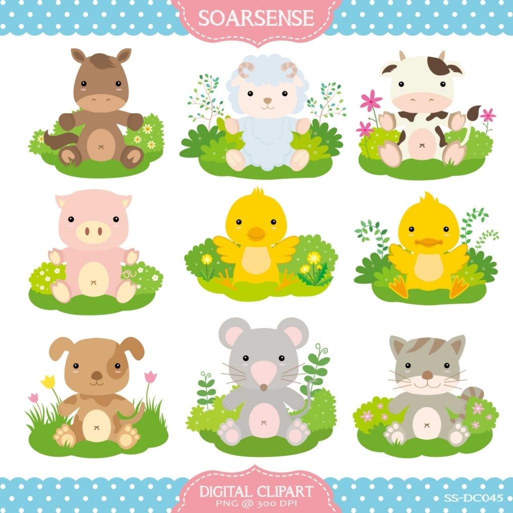 Baby Farm Animals Digital Clipart by LittleMoss on Etsy - Baby Farm Animals PNG HD