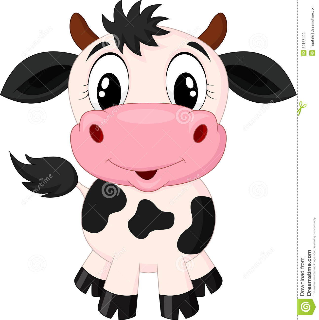 Cute cow cartoon vector 2008139 - by tigatelu on VectorStock® - Baby Farm Animals PNG HD