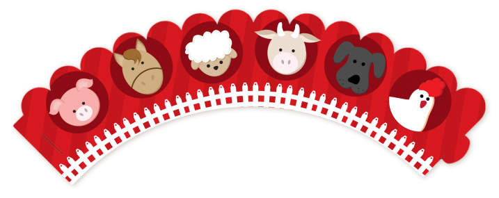 Farm Animals - Baby Shower Cupcake Wrappers - Baby Farm Animals PNG HD