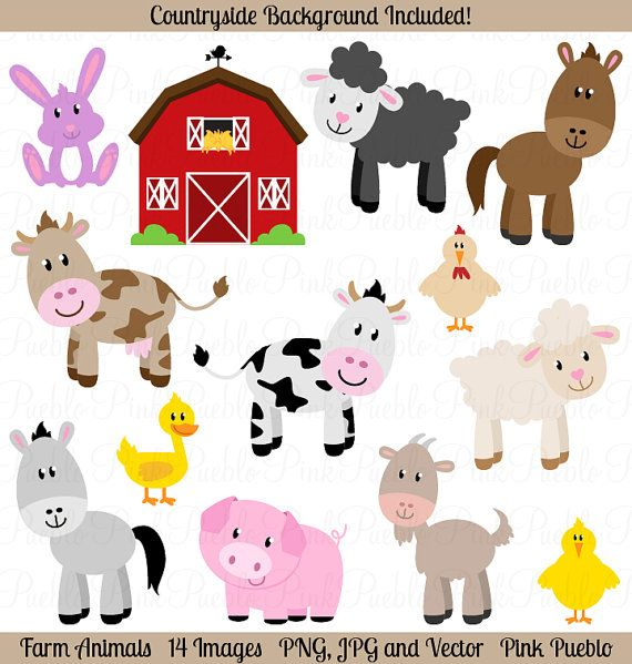 Farm Animals Clipart Clip Art, Barnyard Animals Clipart Clip Art -  Commercial and Personal Use - Baby Farm Animals PNG HD