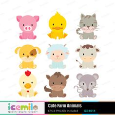 This digital clipart set including 9 Cute Farm Animals. Each clipart saved  separately as a high resolution PNG file with a transparent background. - Baby Farm Animals PNG HD