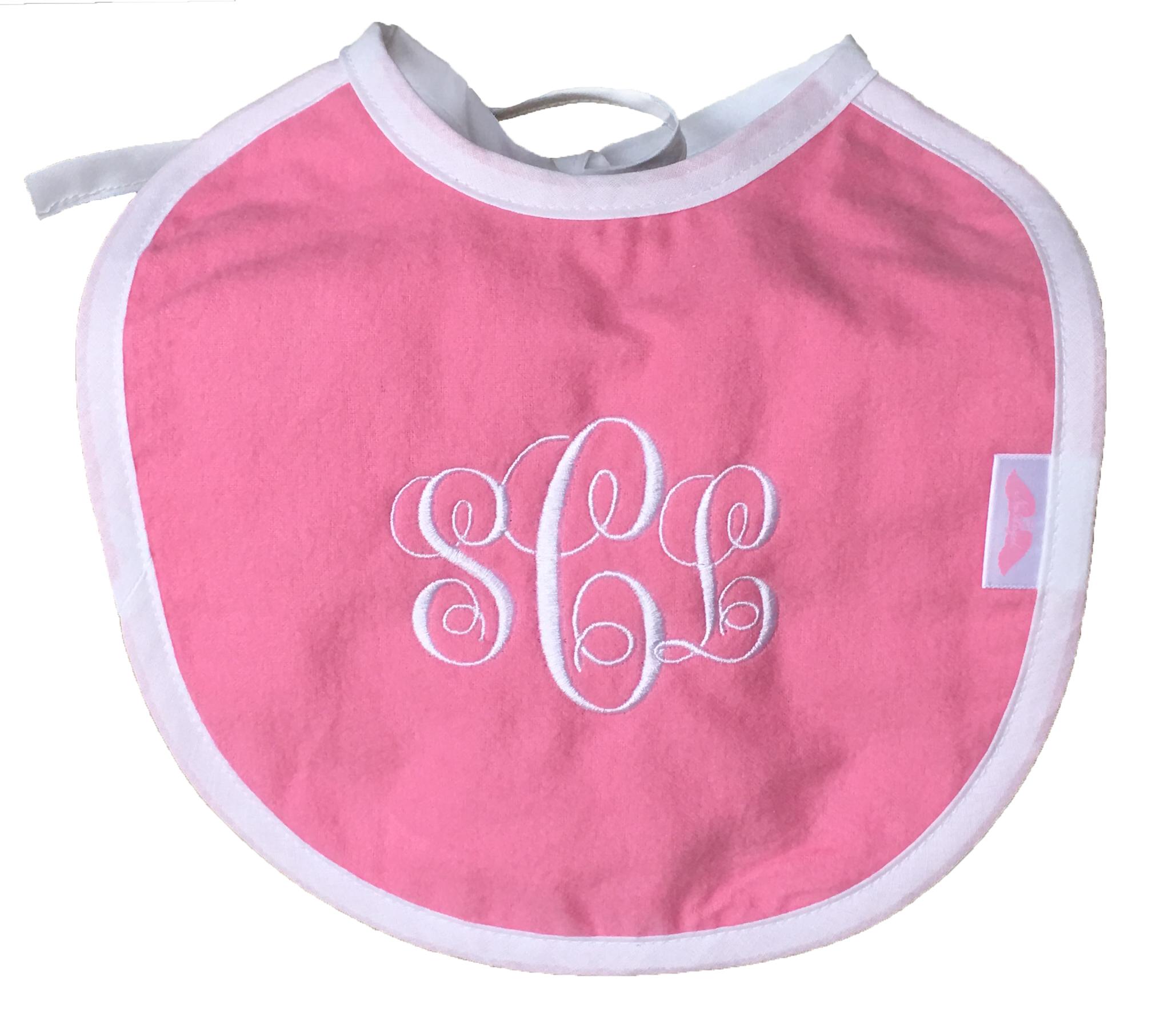 pink baby girl bib monogram p