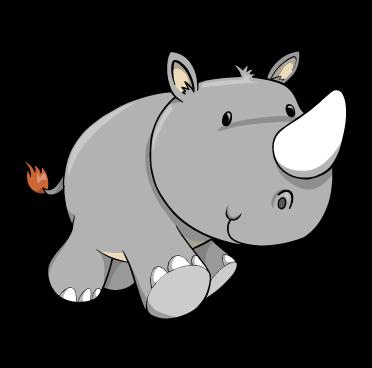 Cartoon Baby Rhino : Custom Wall Decals, Wall Decal Art, And Wall Decal  Murals - Baby Rhino PNG
