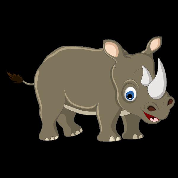 Kids Cute Rhino Clipart - Baby Rhino PNG