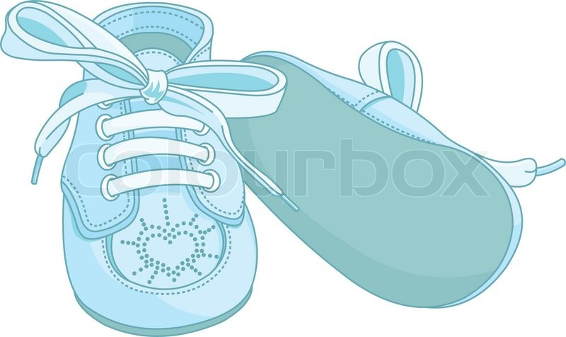 Blue baby shoes on white background, vector - Baby Shoes For Boys PNG
