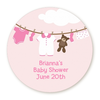 Clothesline Itu0027s A Girl - Round Personalized Baby Shower Sticker Labels - Baby Shower Its A Girl PNG